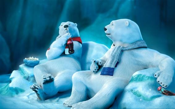 Wallpaper Polar bear drinking Coca-Cola