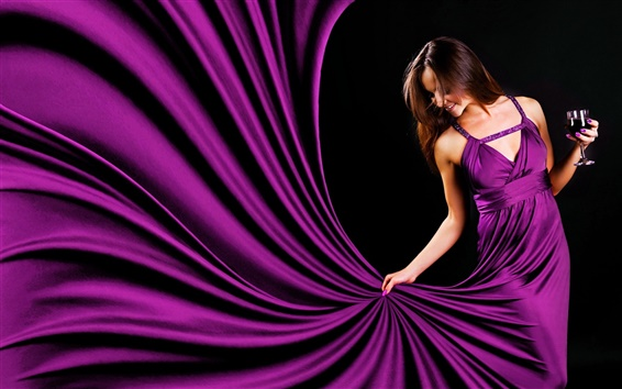 Wallpaper Purple evening dress girl