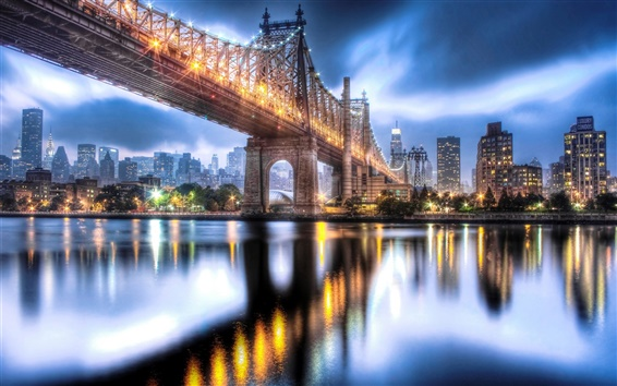 Wallpaper Queensboro Bridge, Roosevelt Island, Manhattan, city night lights