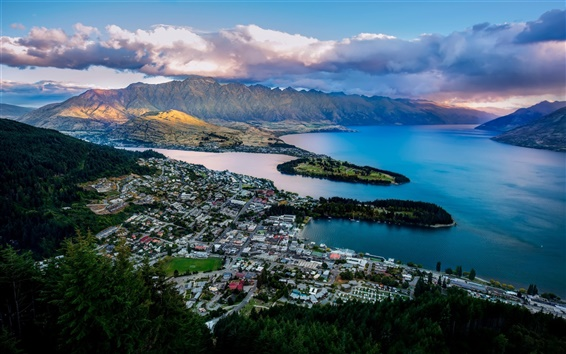 Wallpaper Queenstown, New Zealand, Lake Wakatipu, bay, mountains, city