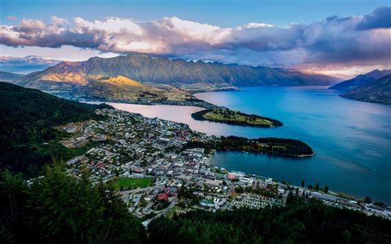 Обои Квинстаун, Новая Зеландия, озеро Вакатипу, залив, горы, город