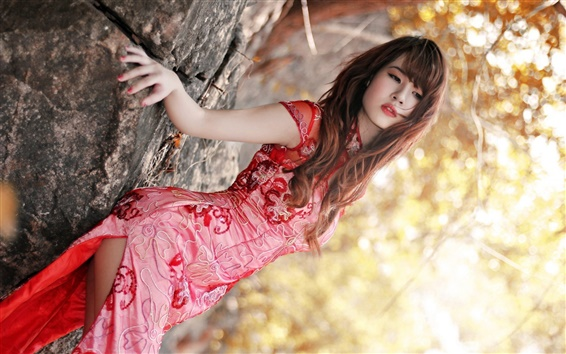 Wallpaper Red cheongsam asian girl