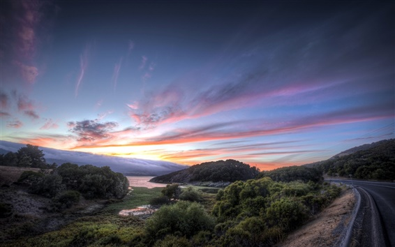 Wallpaper Road, sunset, trees, river, landscape