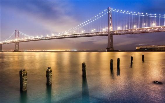 Wallpaper San Francisco bridge at night, bright lights
