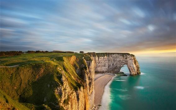 Wallpaper Seashore, rock arch, cliff, sunset