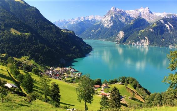 Fondos de pantalla Suiza Morschach paisaje, montañas, rocas, nieve, lago, bosque, casa