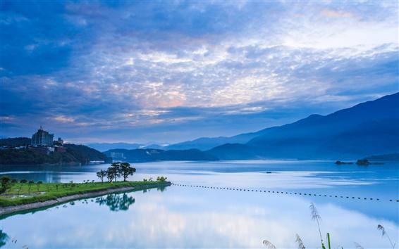 Fond d'écran Taiwan, Nantou, lever de soleil, montagnes, ciel bleu, lac de réflexion