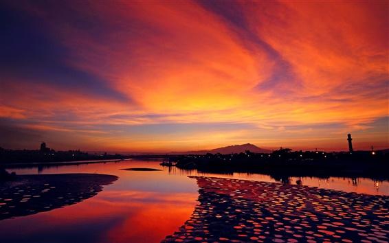 Wallpaper Town sunset, river, orange sky
