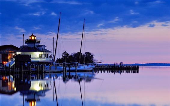 Обои США, Мэриленд, маяк, залив, ночь, синее небо, отражение воды