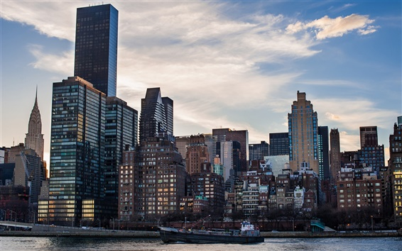 Wallpaper United States, New York City, skyscrapers, buildings, ship, morning