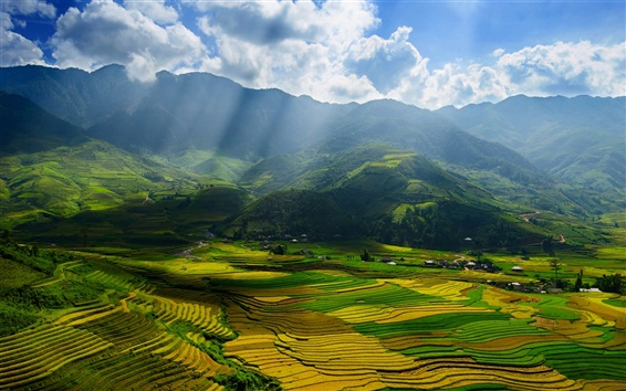 Wallpaper Vietnam, Yen Bai Province, beautiful scenery, valley, fields