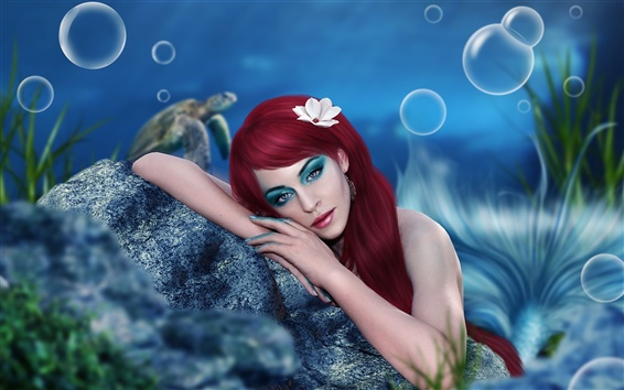 Wallpaper Art fantasy girl, mermaid, makeup, red hair, underwater