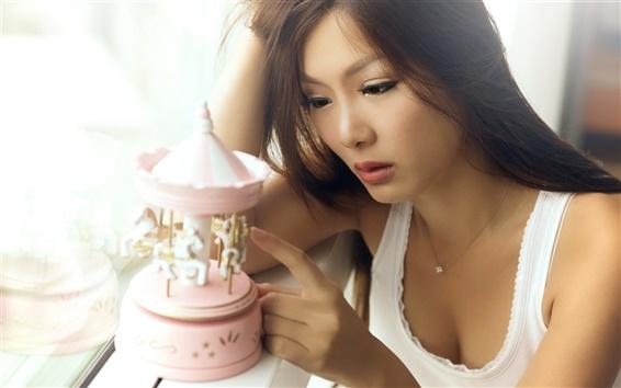 배경 화면 장난감 아시아 여자