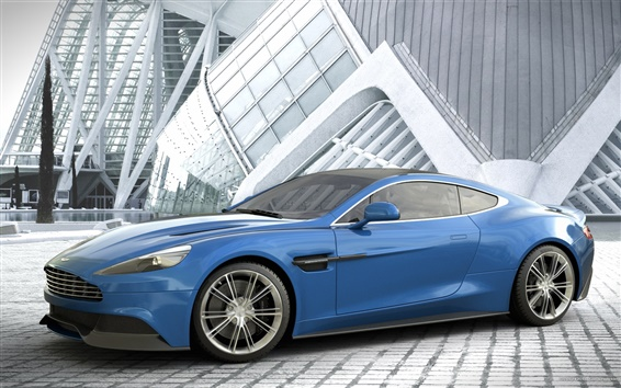 Wallpaper Aston Martin Vanquish blue car