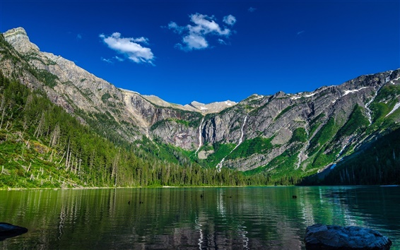Обои Лавина озеро, горы, небо
