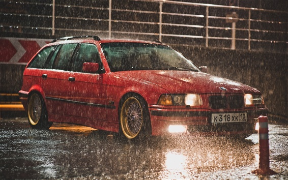 Wallpaper BMW E36 Touring red color, raining night