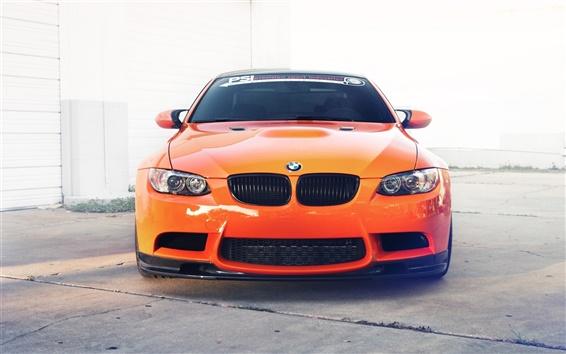 Wallpaper BMW M3 E92 orange car front view