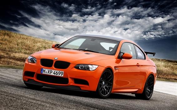 Wallpaper BMW M3 E92 orange supercar, sky, clouds
