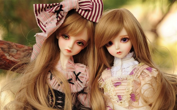 Wallpaper Beautiful toys dolls, blonde hair girls