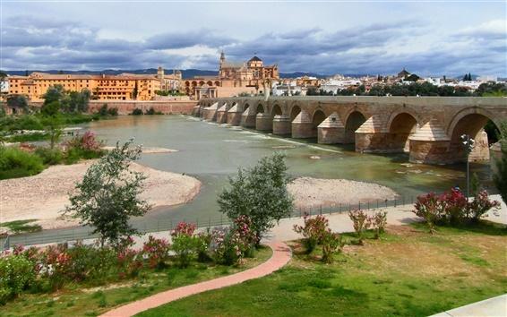 Fond d'écran Cordoue, en Andalousie, en Espagne, le fleuve Guadalquivir, pont, maison