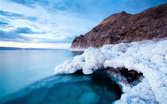 Wallpaper Dead sea coast, white salt, blue sea