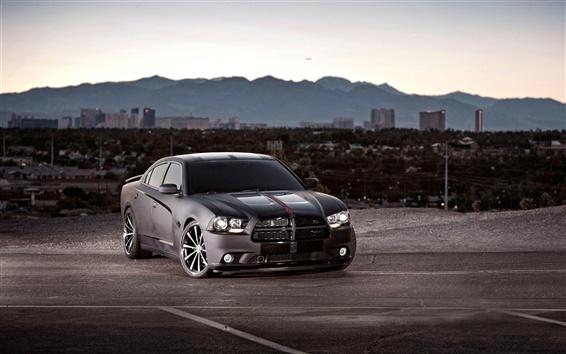 Wallpaper Dodge Charger black car at evening