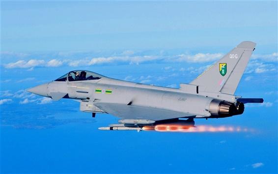 Fondos de pantalla Eurofighter Typhoon EF2000 combate, lanzamiento de misiles