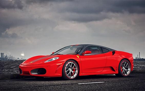 Wallpaper Ferrari F430 supercar, red, cloudy sky