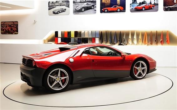 Wallpaper Ferrari SP12 EC red supercar side view