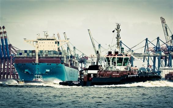 Wallpaper Germany, Hamburg, port, ship, sea