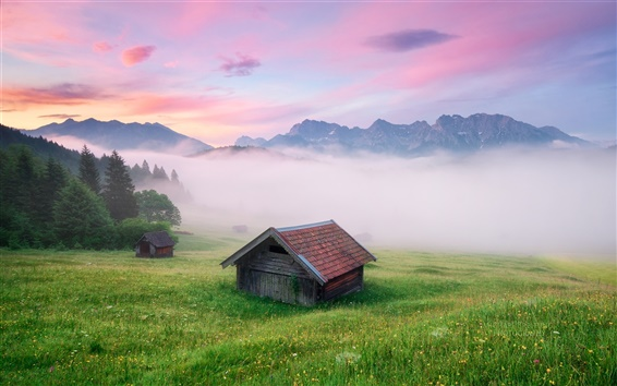 Wallpaper Germany scenery, the Alps, fog, houses