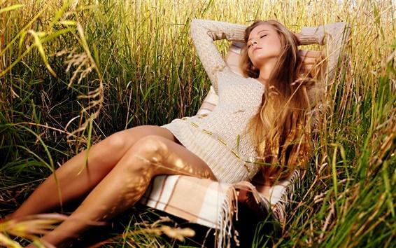 Wallpaper Girl relaxing in grass