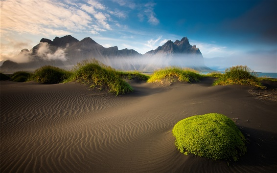 Wallpaper Iceland beautiful scenery, mountains, beach, moss, sand, sea, clouds
