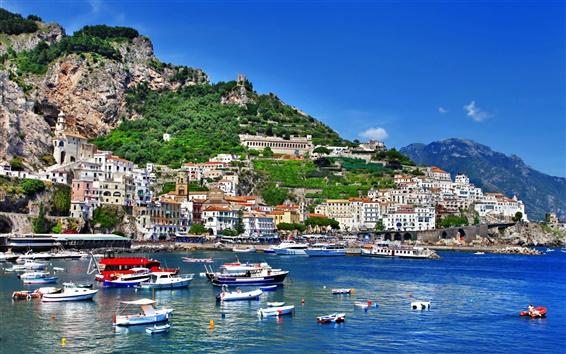 Wallpaper Italy, Positano, Salerno, Amalfi, boats, shore, sea, houses, mountains