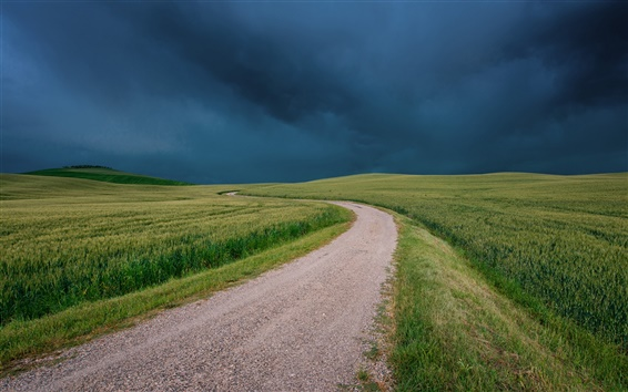 Papéis de Parede Itália, Toscana, campos, estrada, grama, nuvens negras