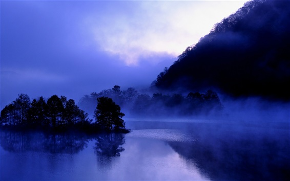 Wallpaper Japan, Fukushima, lake Akimoto, evening, trees, water reflection, mist, blue