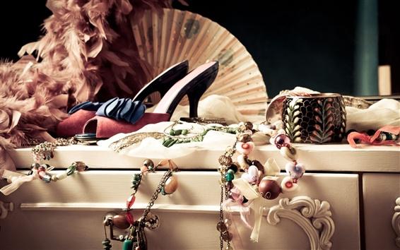 Wallpaper Jewelry, shoes, necklaces, bracelets, female dress supplies