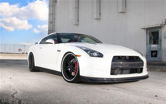Fondos de pantalla Nissan GTR R35 coche blanco