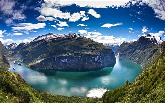 Обои Норвегию, Гейрангер фьорд, вода, горы