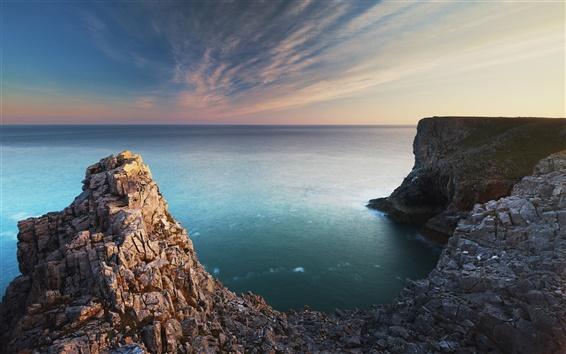 Wallpaper Pembroke, south Wales, coast, sea, rocks