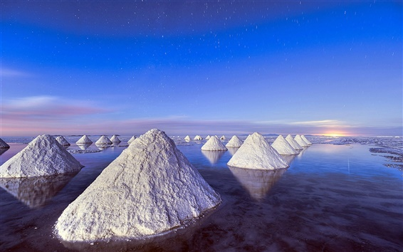 Wallpaper Piles of salt, Dead Sea, blue sky