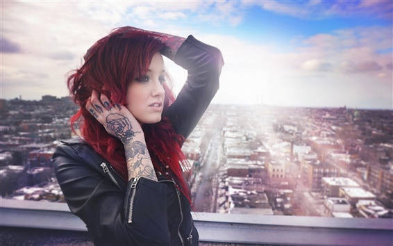 Wallpaper Red hair tattoos girl