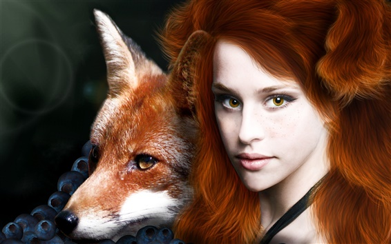 Wallpaper Red haired fantasy girl with animal fox