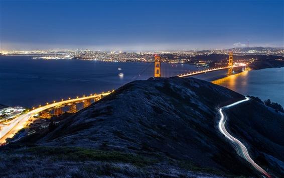 Fond d'écran San Francisco, Californie, USA, Golden Gate Bridge, la ville de nuit