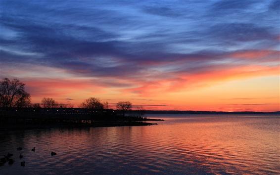 Wallpaper Scenery evening, lake, trees, beautiful landscape