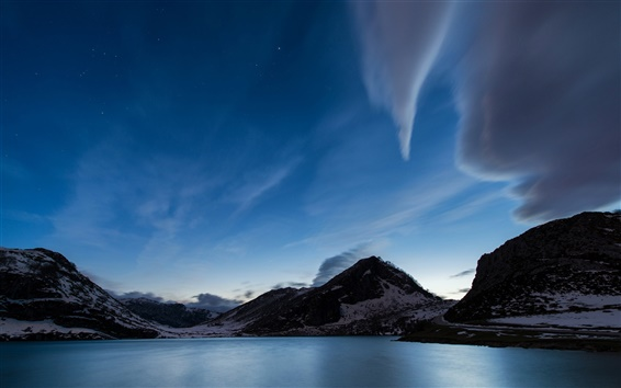 Wallpaper Spain, Asturias, bay, mountains, snow, dusk, blue, sky