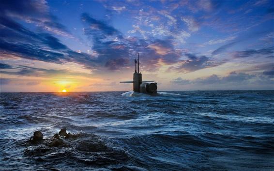 壁紙 潜水艦は、浮上した海、夕日