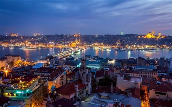 Fond d'écran Turquie, Istanbul, la ville de nuit, les maisons, les lumières