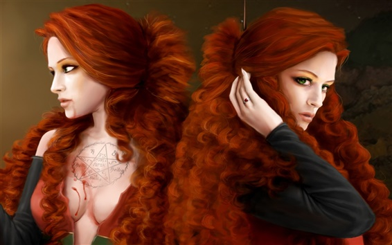 Wallpaper Two brown hair girls, green eyes, art fantasy