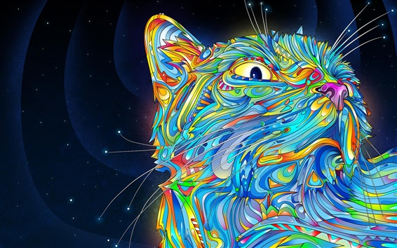 Wallpaper Vector abstract Colorful cat